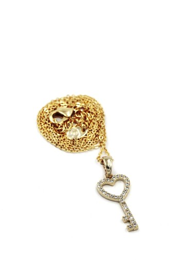 Ocean Fashion 925 Gold Simple heart key crystal necklace Image 1