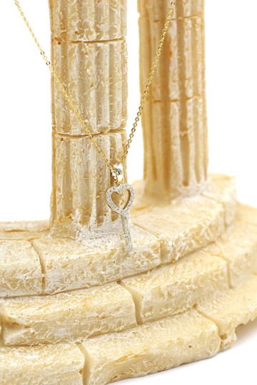 Ocean Fashion 925 Gold Simple heart key crystal necklace Image 3