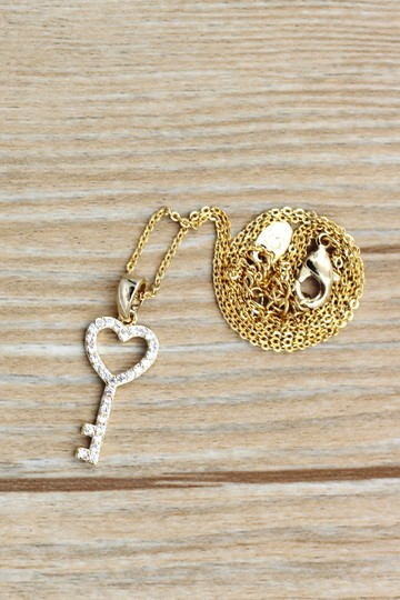 Ocean Fashion 925 Gold Simple heart key crystal necklace Image 4