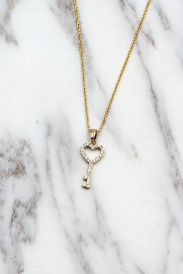 Ocean Fashion 925 Gold Simple heart key crystal necklace Image 7