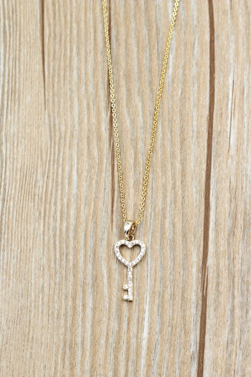Ocean Fashion 925 Gold Simple heart key crystal necklace Image 8