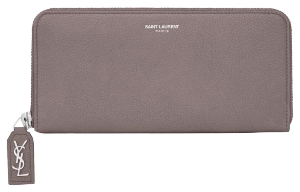54f48213f0 Saint Laurent Fog Rive Gauche Zip Around with D Pull In Grained Leather  Wallet 18% off retail