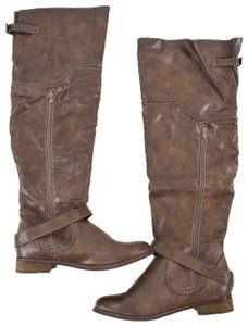 Restricted Over The Knee Faux Leather Taupe Boots