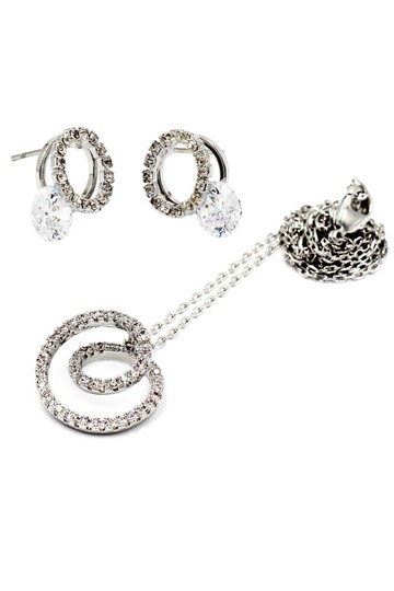 Ocean Fashion Fashion screw crystal silver necklace earrings sets Image 2
