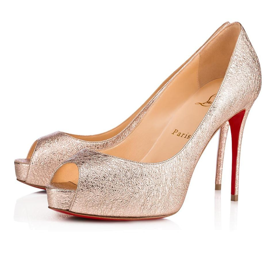 reputable site 01b3d 7a22a Christian Louboutin Rose Gold New Very Prive 100 Peep Toe Platform Classic  Stiletto Heel Pumps Size EU 36 (Approx. US 6) Regular (M, B) 40% off retail