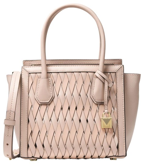 Preload https://img-static.tradesy.com/item/23589591/michael-kors-mercer-medium-woven-crossbody-pink-leather-satchel-0-1-540-540.jpg
