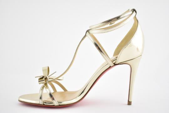 Christian Louboutin Ankle Patent Blakissima Ankle Strap Pigalle gold Pumps Image 8