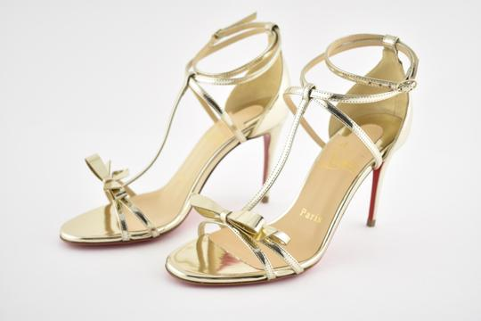 Christian Louboutin Ankle Patent Blakissima Ankle Strap Pigalle gold Pumps Image 9