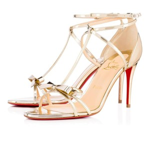 Christian Louboutin Ankle Patent Blakissima Ankle Strap Pigalle gold Pumps