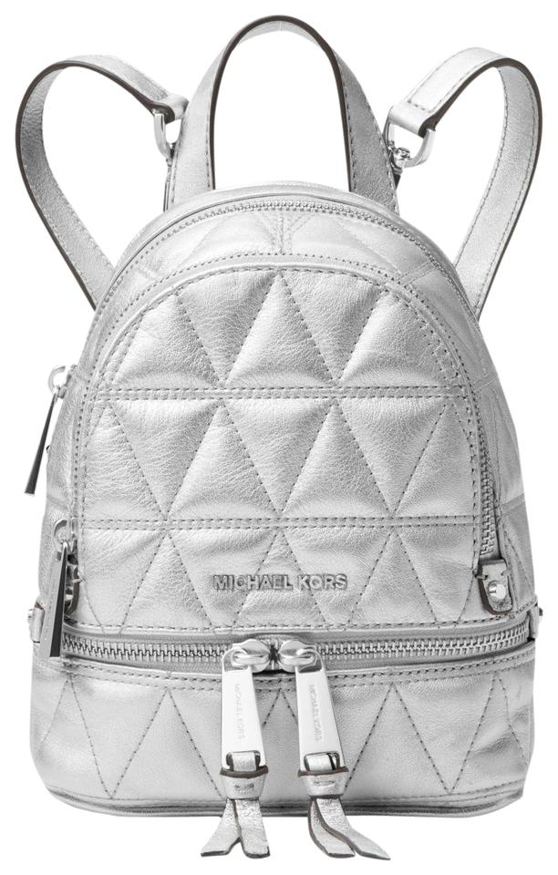 e97d6ddb2cb8 Michael Kors Rhea Mini Metallic Quilted Crossbody Silver Leather ...