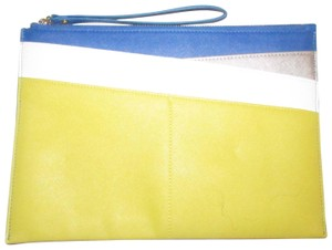 Neiman Marcus By Color Block Design Blue/Yellow/White Purse Four Front Pockets yellow, cobalt blue, pewter, and white faux saffiano leather Clutch