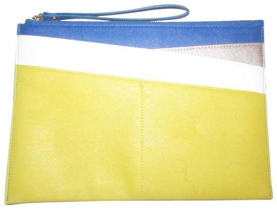 Preload https://img-static.tradesy.com/item/23589749/neiman-marcus-color-block-purse-yellow-cobalt-blue-pewter-and-white-faux-saffiano-leather-clutch-0-3-540-540.jpg