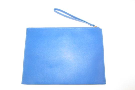 Neiman Marcus By Color Block Design Blue/Yellow/White Purse Four Front Pockets yellow, cobalt blue, pewter, and white faux saffiano leather Clutch Image 2