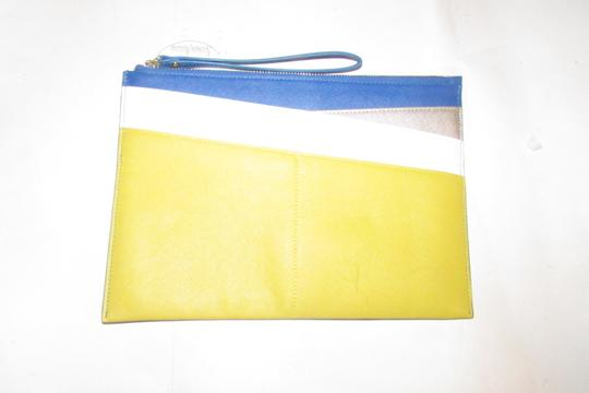 Neiman Marcus By Color Block Design Blue/Yellow/White Purse Four Front Pockets yellow, cobalt blue, pewter, and white faux saffiano leather Clutch Image 4