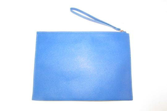 Neiman Marcus By Color Block Design Blue/Yellow/White Purse Four Front Pockets yellow, cobalt blue, pewter, and white faux saffiano leather Clutch Image 5