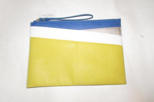 Neiman Marcus By Color Block Design Blue/Yellow/White Purse Four Front Pockets yellow, cobalt blue, pewter, and white faux saffiano leather Clutch Image 7