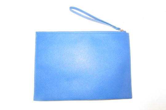 Neiman Marcus By Color Block Design Blue/Yellow/White Purse Four Front Pockets yellow, cobalt blue, pewter, and white faux saffiano leather Clutch Image 8