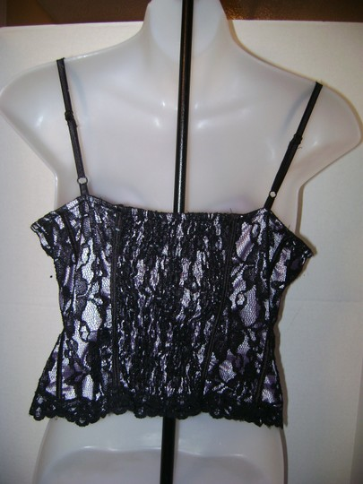 Miyao Ladies Front Hook and Eye Bustier Size Large Black and Lavender Image 1