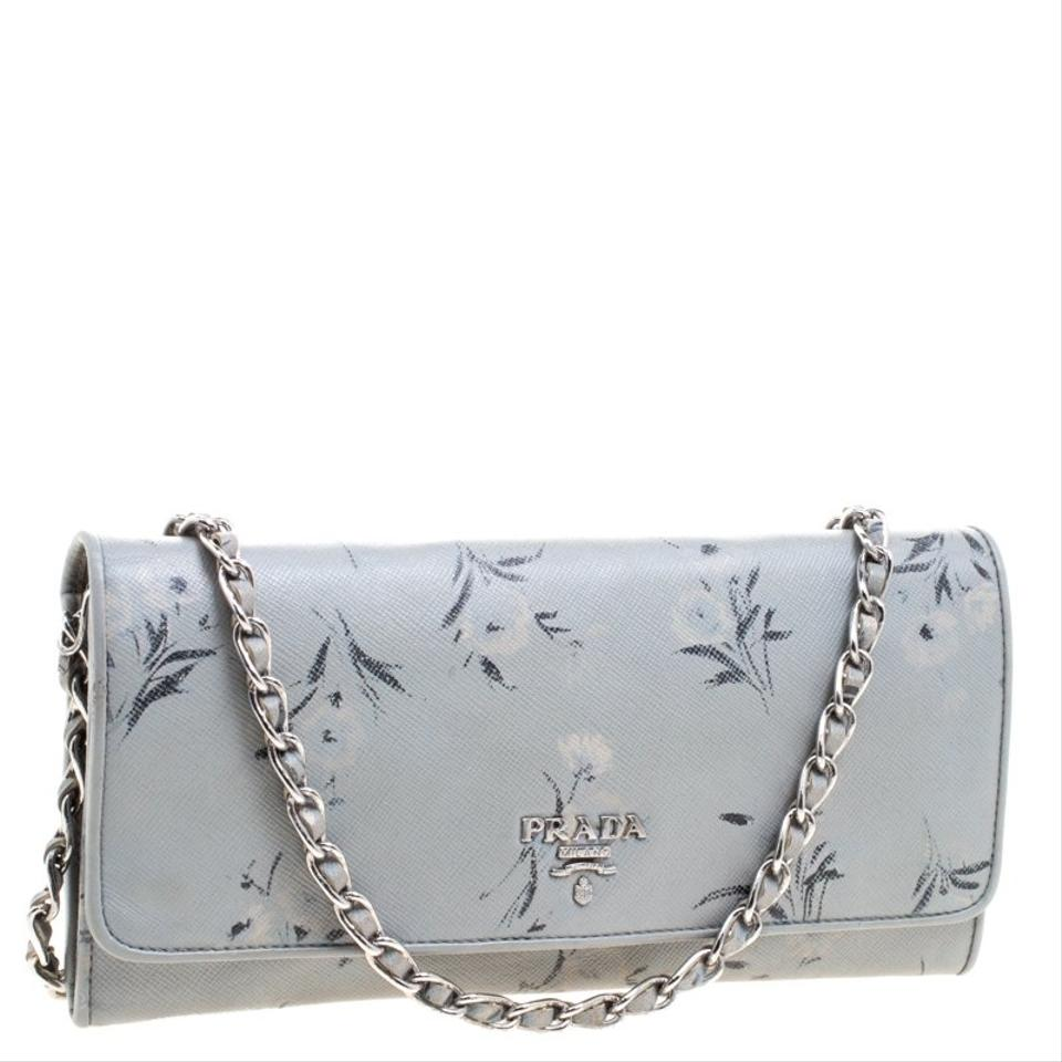 9fda32a9fcc3 Prada Grey Floral Print Saffiano Leather Wallet On Chain Image 10.  1234567891011