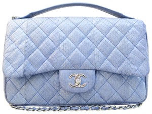 Chanel Snakeskin Shoulder Satchel in blue