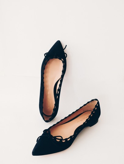 Gianvito Rossi Suede Pointed Toe Black Flats Image 2