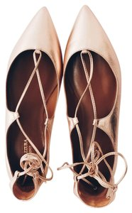 Aquazzura Pointed Toe Pointed Toe Rose Gold Flats