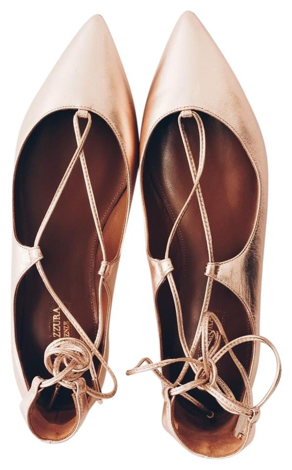 1ede26485ba9 Aquazzura Rose Gold Christy Lace-up Pointed-toe Flats Size US 7 ...