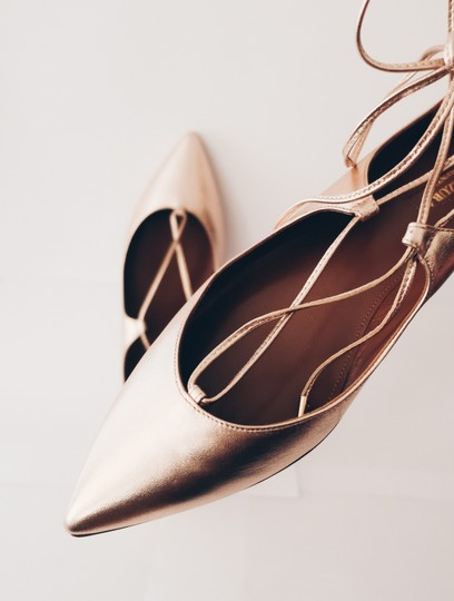 Aquazzura Pointed Toe Pointed Toe Rose Gold Flats Image 1