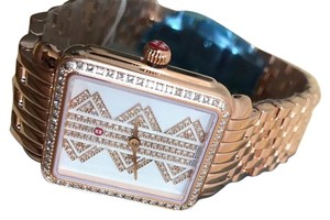 Michele (Rosegold/Silver/White) Deco Ll Mid Pattern Diamond Dial Watch