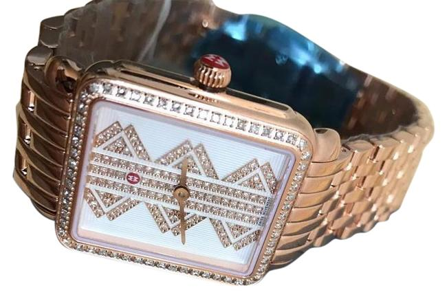 Michele Multicolor (Rosegold/Silver/White) Deco Ll Mid Pattern Diamond Dial Watch Michele Multicolor (Rosegold/Silver/White) Deco Ll Mid Pattern Diamond Dial Watch Image 1