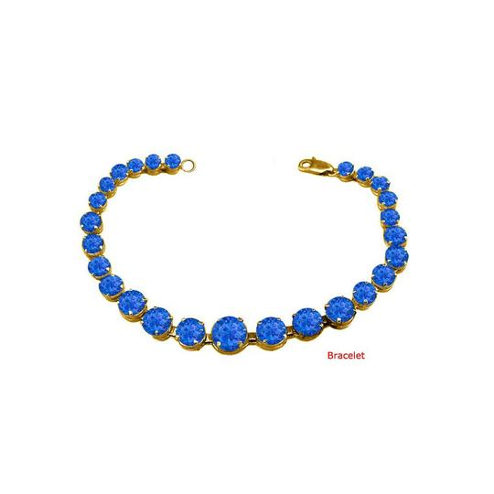 DesignerByVeronica September Birthstone Prong Set Sapphire Bracelet in Yellow Silver Image 0