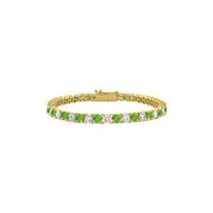 DesignerByVeronica Peridot Tennis Bracelet CZ 4CT. TGW. on Yellow Vermeil. 7