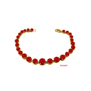 DesignerByVeronica July Birthstone Prong Set Ruby Bracelet in Yellow Over Sterling Silver