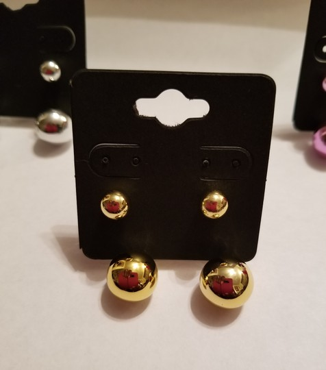 Xquisite by DESIGN 2 PAIR / Double BALL STUD EARRINGS GOLD & FUSHSIA Image 1