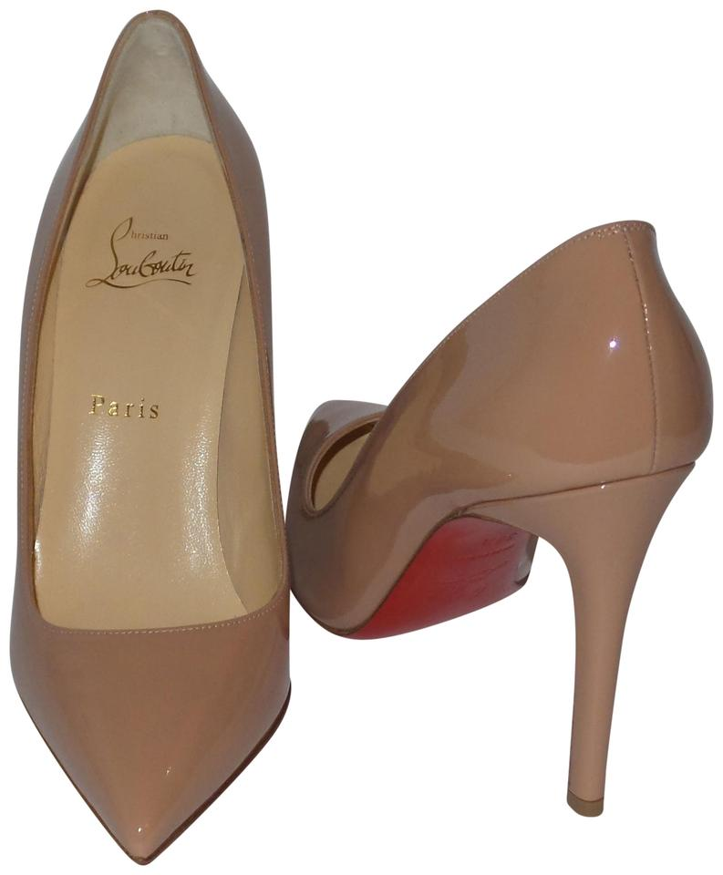 Christian Patent Louboutin Nude Pigalle 100 Patent Christian Leather Pumps 65dc01