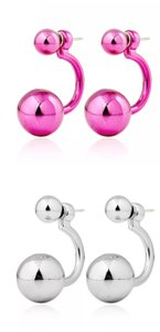 Xquisite by DESIGN 2 PAIR / Double BALL STUD EARRINGS FUSHSIA & SILVER
