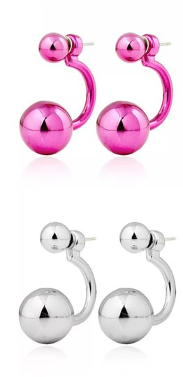 Xquisite by DESIGN 2 PAIR / Double BALL STUD EARRINGS FUSHSIA & SILVER Image 4
