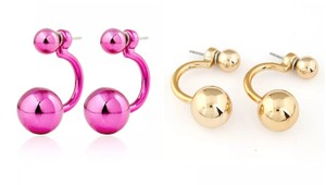 Xquisite by DESIGN 2 PAIR / Double BALL STUD EARRINGS GOLD & FUSHSIA