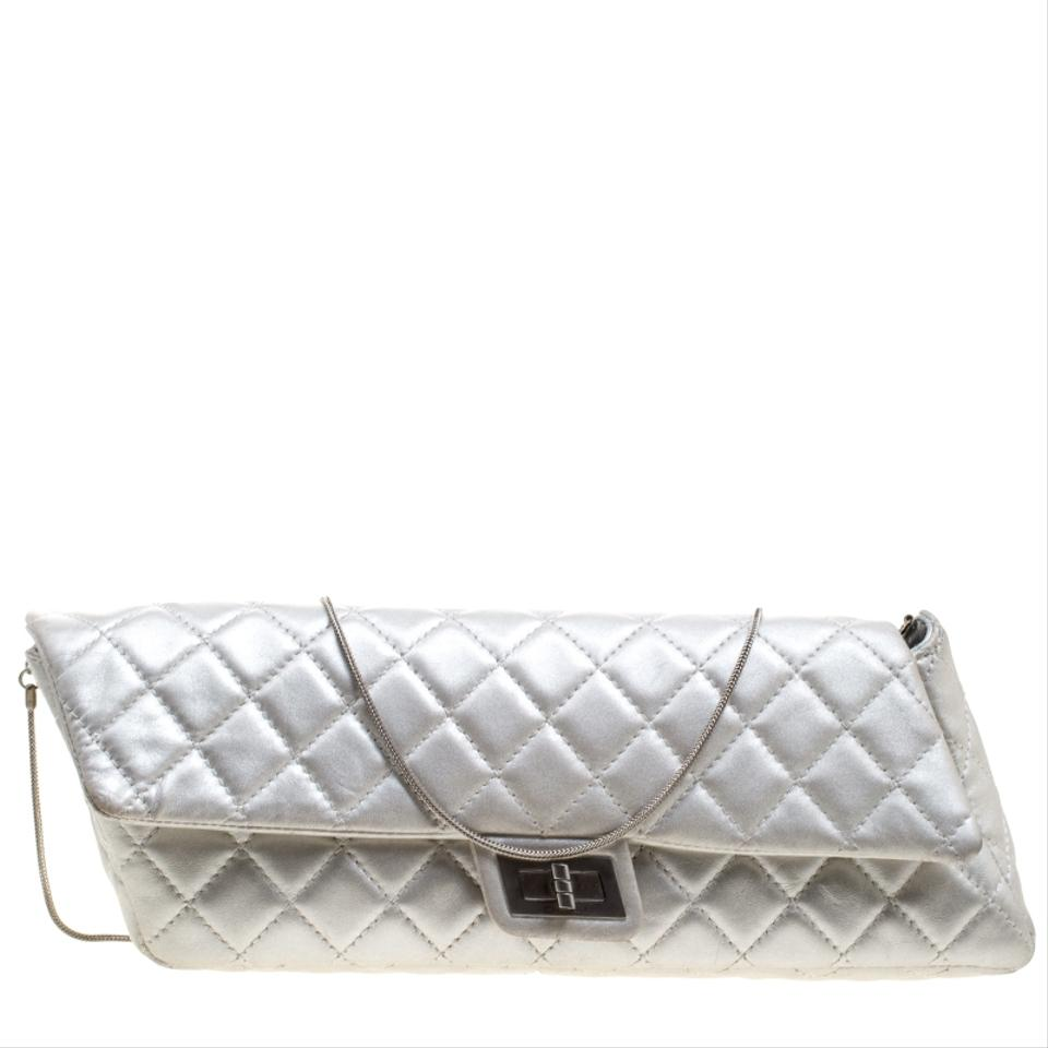 e3bef0ba0440 Chanel 2.55 Reissue Clutch Quilted Chain Silver Leather Clutch - Tradesy