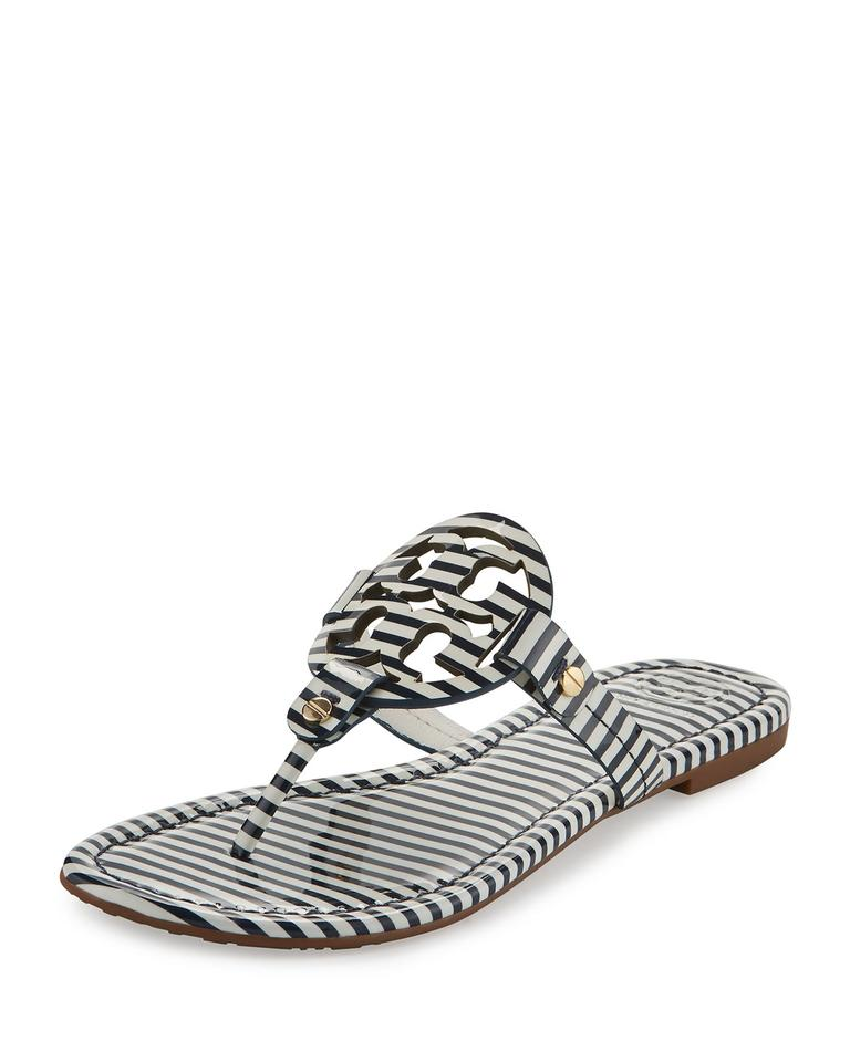 Tory Miller Burch Multi Color Nautical Miller Tory Flip Flop Leather Thong Stripe Sandals 36ed9e