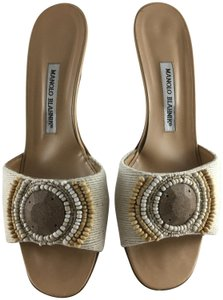 Manolo Blahnik Kitten Beige Cloth with Beaded Details Mules