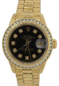Rolex Ladies Rolex President 18k Gold Diamond Bezel Black Dial Watch