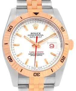 Rolex Rolex Turnograph Datejust Steel Rose Gold Watch 116261 Box Papers