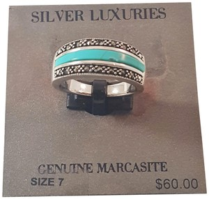 2ad2943c904 Silver Luxuries Women s Genuine Marcasite Turquoise Rings Size 7 Silver  Plated