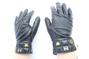 Hermès Black Constance Studded H Logo 31hr0627 Gloves