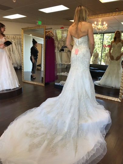Allure Bridals Ivory Beaded Embroidered Organza C348 Modern Wedding Dress Size 4 (S) Image 1