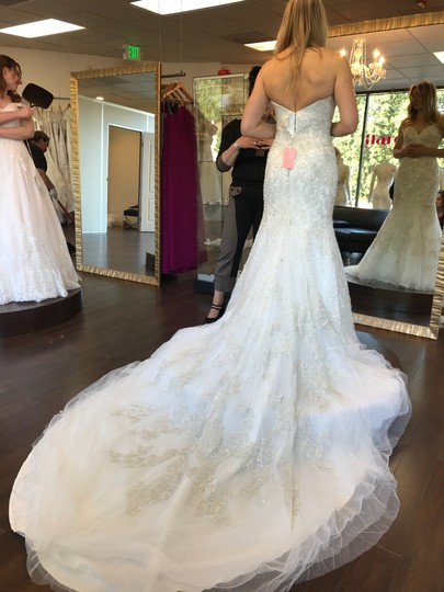 Allure Bridals Ivory Beaded Embroidered Organza C348 Modern Wedding Dress Size 4 (S) Image 2