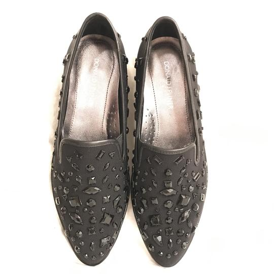 Donald J. Pliner Wedge Platform Rhinestone Comfortable Leather Black Flats Image 1
