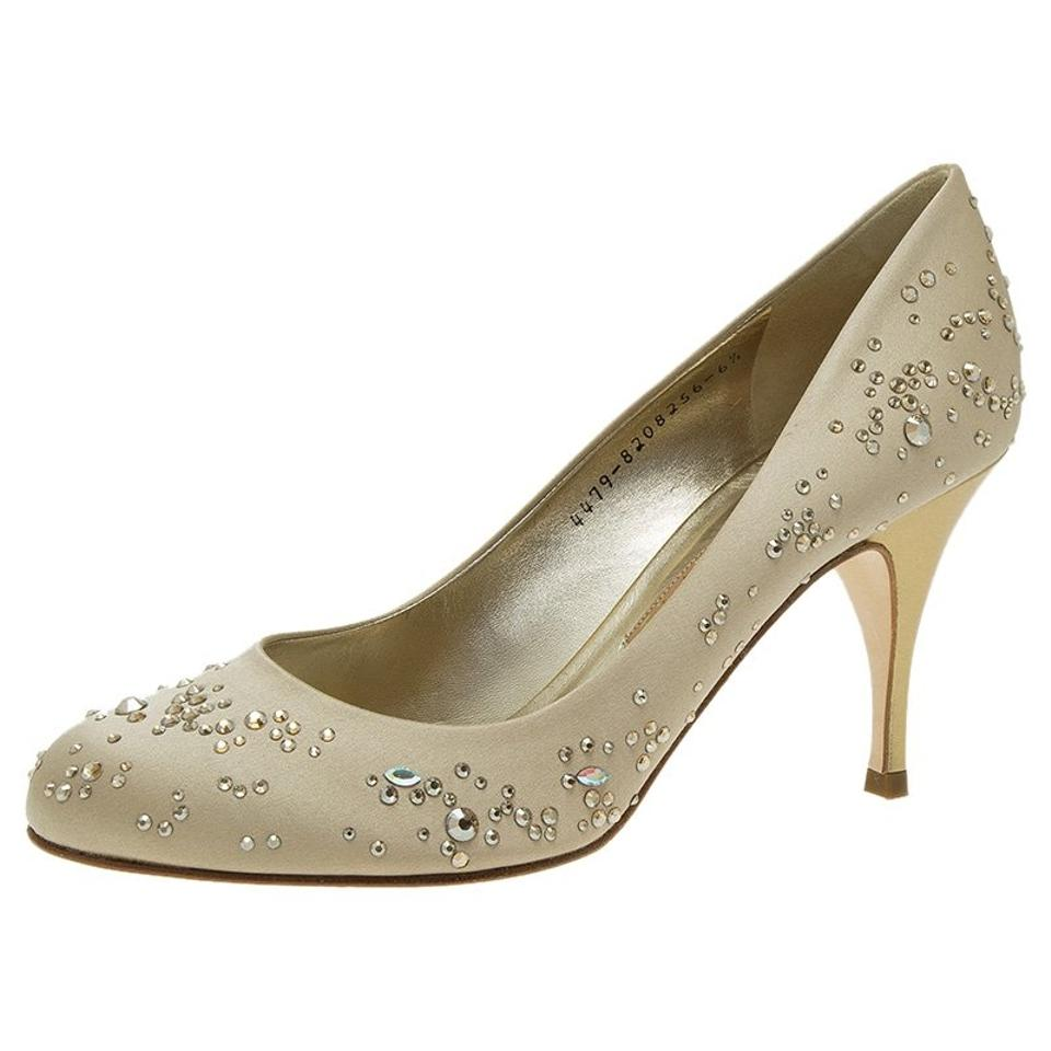 WOMENS Beige Satin Embellished variety Anny Pumps a great variety Embellished 5e4925