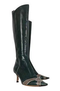 Jimmy Choo Grey Leather Green Boots